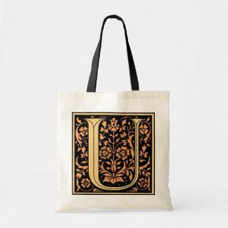 Vintage Floral Monogram 'U' - Bag