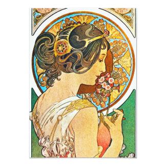 "Vintage Floral Mucha 5"" X 7"" Invitation Card"