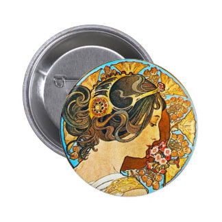 Vintage Floral Mucha Buttons