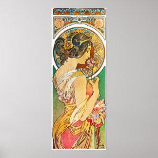 Vintage Floral Mucha Poster