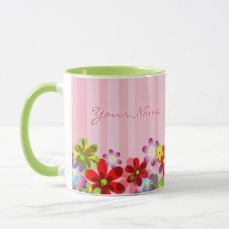 VINTAGE FLORAL MUG, PINK MONOGRAM FLOWER COFFE MUG