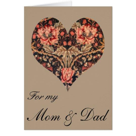 Vintage Floral Mum & Dad Valentine Card