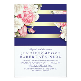 Vintage Floral Navy and Gold Stripes Wedding 13 Cm X 18 Cm Invitation Card