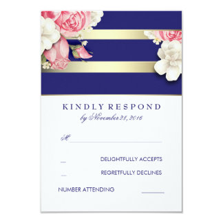 Vintage Floral Navy and Gold Wedding RSVP 9 Cm X 13 Cm Invitation Card