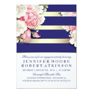 Vintage Floral Navy Gold Stripes Engagement Party 13 Cm X 18 Cm Invitation Card