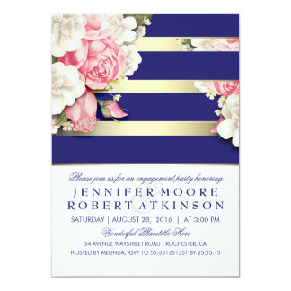 Vintage Floral Navy Gold Stripes Engagement Party Card