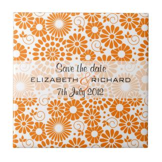 """Vintage floral orange """"Save the date"""" Tile"""