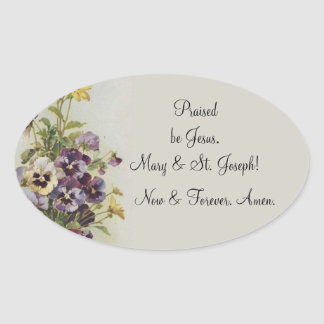 Vintage Floral Pansies Prayer Quote Customize Oval Sticker