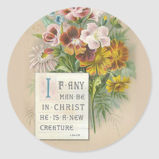 Vintage Floral Pansies Scripture Classic Round Sticker