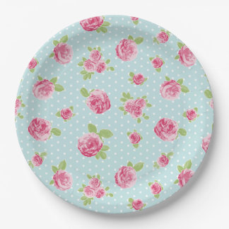Vintage Floral Paper Plate Shabby Chic Roses