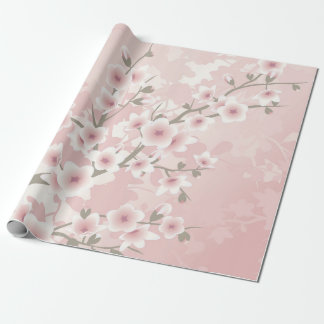 Vintage Floral Pastel Cherry Blossoms Wrapping Paper