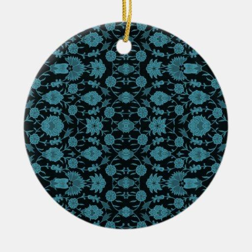 Vintage Floral Pattern - Aqua on Black Christmas Ornaments