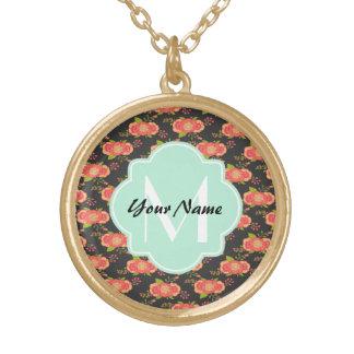 Vintage Floral Pattern Custom Monogram Round Pendant Necklace