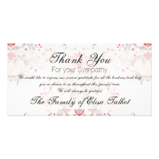 Vintage Floral Pattern Damask Sympathy Thank You P Personalised Photo Card