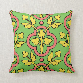 Vintage Floral Pattern Green Peach Yellow Decor Cushion