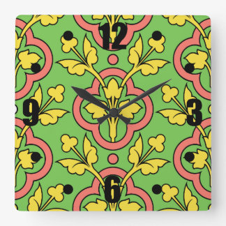Vintage Floral Pattern Green Peach Yellow Decor Wallclock