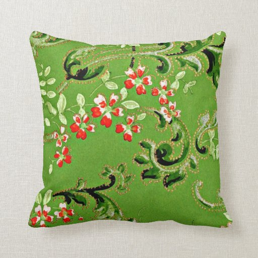Vintage Floral Pattern in Red and Apple Green Pillow