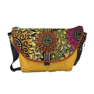 Vintage Floral Pattern Messenger-choose colors Commuter Bags