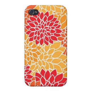 Vintage Floral Pattern Orange Red Dahlias Flowers iPhone 4/4S Cases