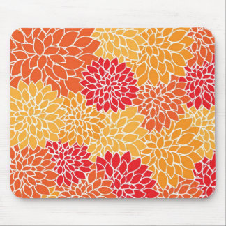 Vintage Floral Pattern - Red, Yellow, Orange Mouse Pads