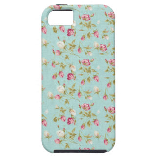 Vintage floral pattern roses blue shabby rose chic tough iPhone 5 case