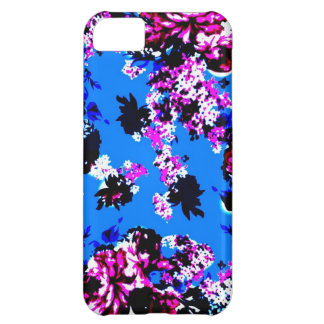 Vintage Floral Pattern Royal Blue and Pink iPhone 5C Case