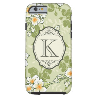 Vintage Floral Pattern with Antique Frame Monogram Tough iPhone 6 Case