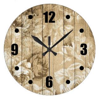 Vintage Floral Pattern Wood Large Clock