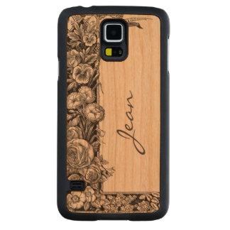 Vintage Floral Pattern Wooden Samsung S5 Case
