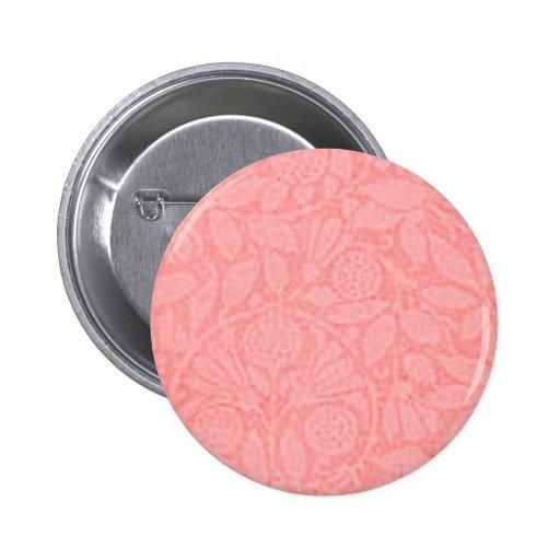 Vintage Floral Peach Pinback Button