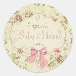 Vintage Floral Peach Bow Baby Shower Round Sticker