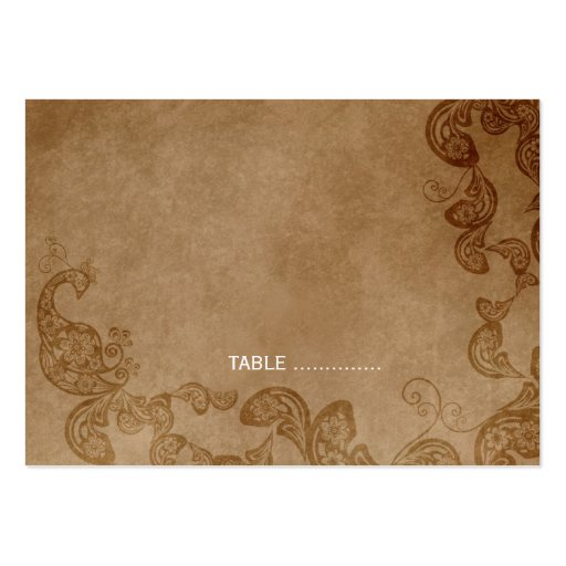 Vintage Floral Peacock Rustic Wedding Place Card Business Cards