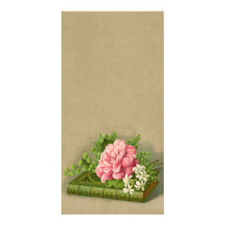 Vintage Floral Peony Classy Book Elegant Customized Photo Card