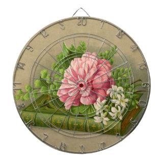 Vintage Floral Peony Classy Book Elegant Dartboard