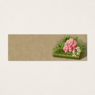 Vintage Floral Peony Classy Book Elegant Mini Business Card