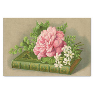 Vintage Floral Peony Classy Book Elegant Tissue Paper