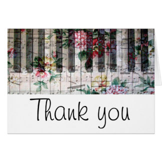vintage floral piano keyboard thank you card