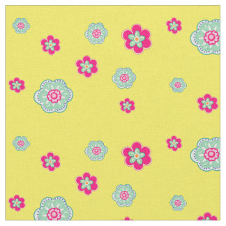 Vintage floral pink and green with yellow fabric