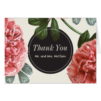 Vintage Floral | Pink Black & White Thank You Card