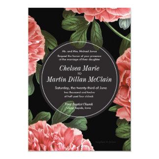 Vintage Floral Pink Black & White Wedding Invite