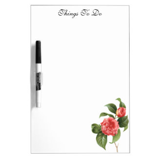 Vintage Floral, Pink Camellia Flowers by Redoute Dry Erase White Board