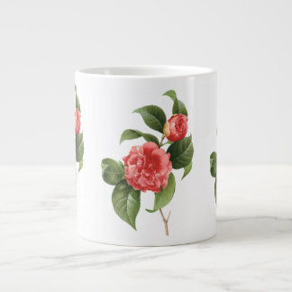 Vintage Floral, Pink Camellia Flowers by Redoute Jumbo Mug