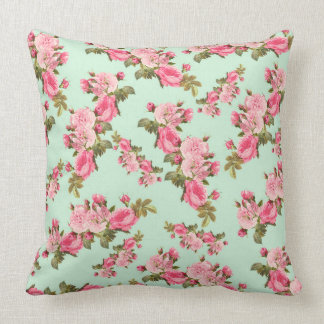 Vintage floral pink camellia flowers luxury pillow