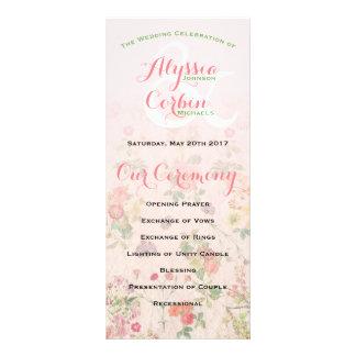 Vintage Floral Pink Elegant  Wedding Program Rack Card