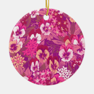 Vintage Floral Pink Pansy Round Ornaments