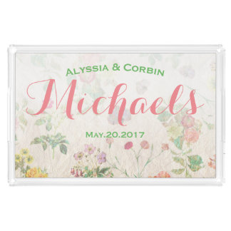 Vintage Floral Pink Romantic Wedding Couple Gift Acrylic Tray