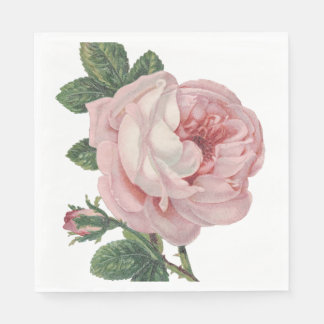 Vintage Floral Pink Rose Flower Shabby Chic Disposable Napkins
