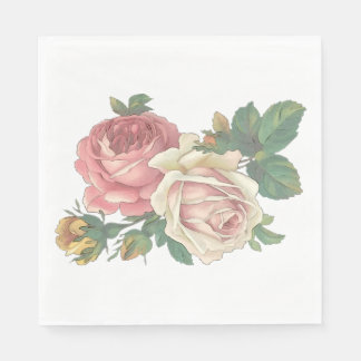 Vintage Floral Pink Rose Flower Wedding  Party Disposable Serviette