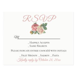Vintage Floral Pink Rose RSVP Flower Wedding Party Postcard