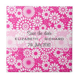 Vintage floral pink Save the date Tile